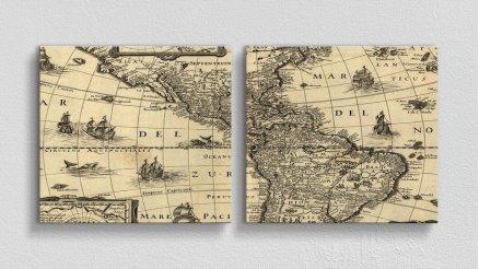 DH-90017012 - Harita Temalı Kanvas Tablo