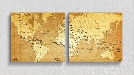 DH-90017013 - Harita Temalı Kanvas Tablo