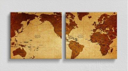 DH-90017014 - Harita Temalı Kanvas Tablo