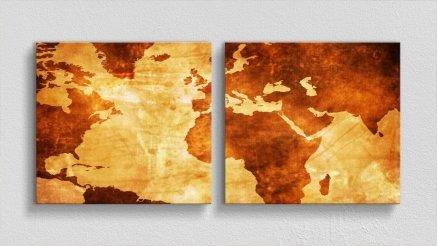 DH-90017015 - Harita Temalı Kanvas Tablo