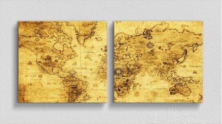 DH-90017016 - Harita Temalı Kanvas Tablo