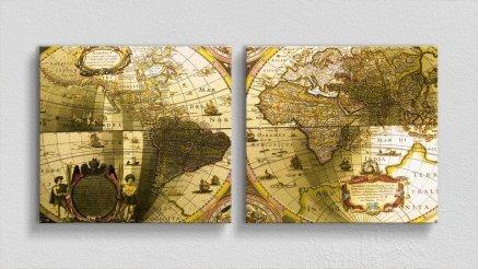 DH-90017017 - Harita Temalı Kanvas Tablo