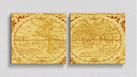 DH-90017022 - Harita Temalı Kanvas Tablo
