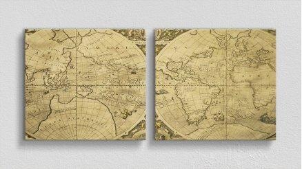 DH-90017025 - Harita Temalı Kanvas Tablo