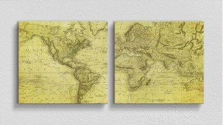 DH-90017029 - Harita Temalı Kanvas Tablo