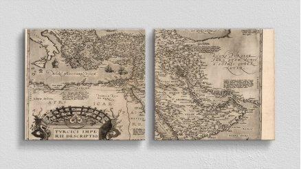 DH-90017042 - Harita Temalı Kanvas Tablo