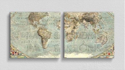 DH-90017046 - Harita Temalı Kanvas Tablo