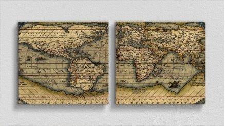 DH-90017050 - Harita Temalı Kanvas Tablo