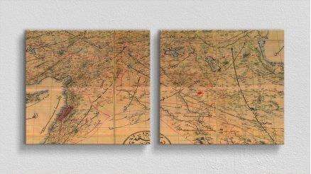 DH-90017051 - Harita Temalı Kanvas Tablo