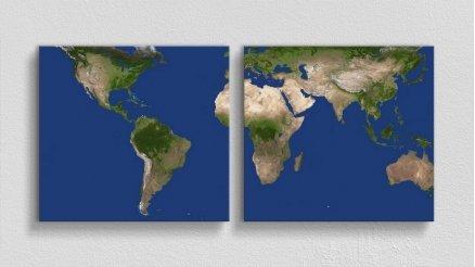 DH-90017059 - Harita Temalı Kanvas Tablo