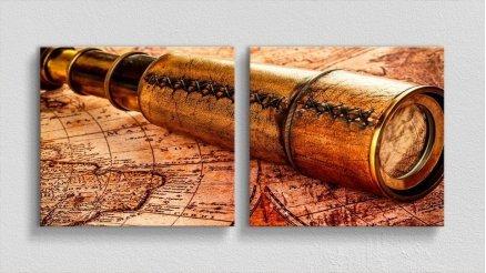 DH-90017067 - Harita Temalı Kanvas Tablo