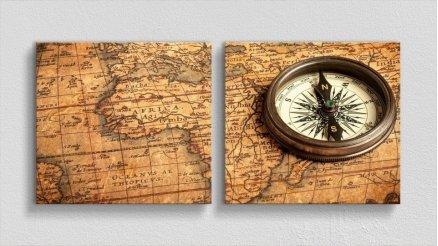 DH-90017068 - Harita Temalı Kanvas Tablo