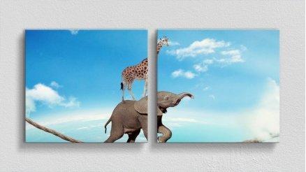 HYV-110017138 - Hayvanlar Alemi Kanvas Tablo