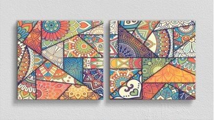 Sanatsal Renkli Kanvas Tablo